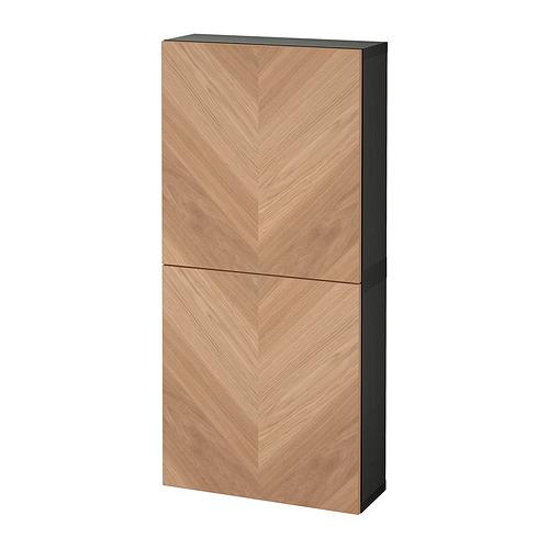 BESTÅ - 雙門吊櫃, black-brown/Hedeviken oak veneer   IKEA 香港及澳門 - PE821301_S4