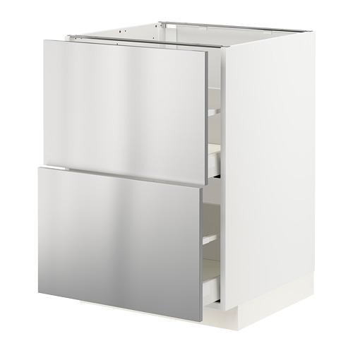 METOD/MAXIMERA - base cb 2 fronts/2 high drawers, white/Vårsta stainless steel | IKEA Hong Kong and Macau - PE765747_S4
