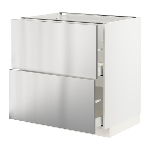 METOD/MAXIMERA - base cb 2 fronts/2 high drawers, white/Vårsta stainless steel | IKEA Hong Kong and Macau - PE765748_S4