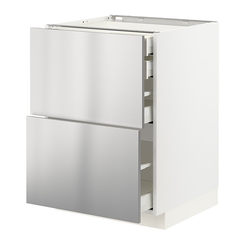 METOD/MAXIMERA - base cb 2 frnts/2 low/1 md/1 hi drw, white/Vårsta stainless steel | IKEA Hong Kong and Macau - PE765749_S4