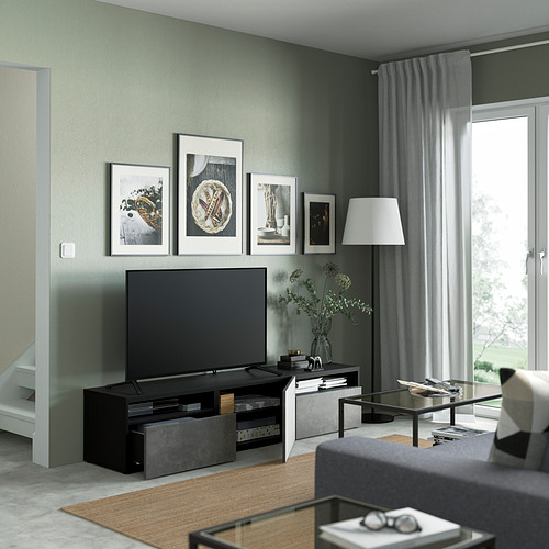 BESTÅ - 電視几連抽屜/門, black-brown/Kallviken dark grey | IKEA 香港及澳門 - PE821462_S4