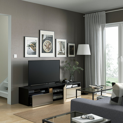 BESTÅ - 電視几連抽屜/門, black-brown/Riksviken light bronze effect | IKEA 香港及澳門 - PE821378_S4