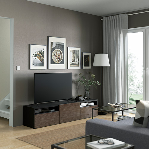 BESTÅ - 電視几, black-brown/Selsviken high-gloss/brown   IKEA 香港及澳門 - PE821429_S4