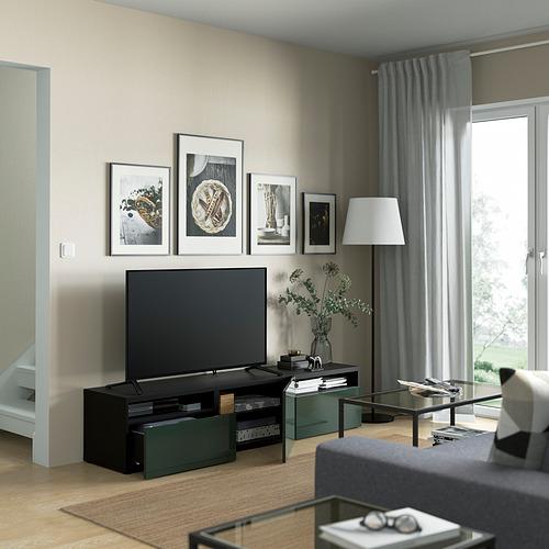 BESTÅ - 電視几連抽屜/門, black-brown/Selsviken dark olive-green   IKEA 香港及澳門 - PE821388_S4