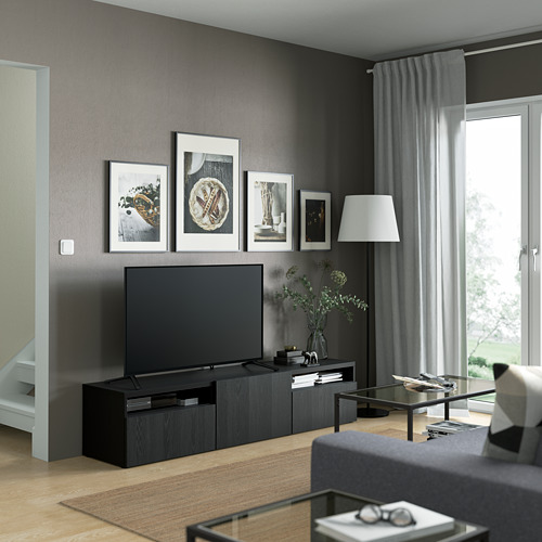 BESTÅ - 電視几連抽屜/門, black-brown/Timmerviken black | IKEA 香港及澳門 - PE821382_S4