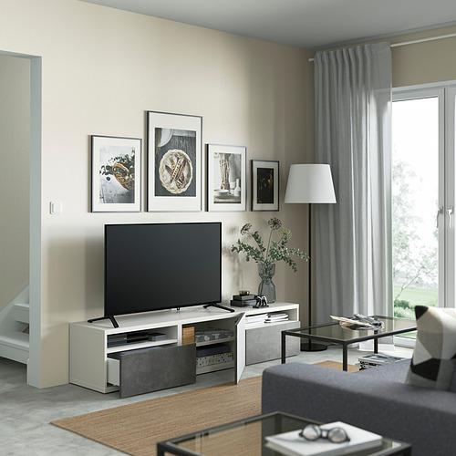 BESTÅ - 電視几連抽屜/門, white/Kallviken dark grey | IKEA 香港及澳門 - PE821398_S4