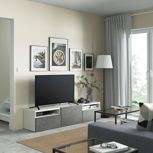 BESTÅ - 電視几連抽屜/門, white/Kallviken dark grey | IKEA 香港及澳門 - PE821399_S4