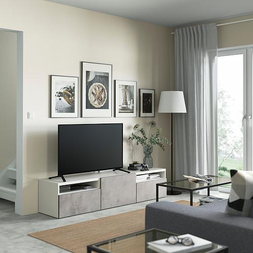 BESTÅ - TV bench with drawers and door, white/Kallviken light grey | IKEA Hong Kong and Macau - PE821411_S4