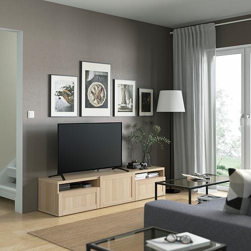 BESTÅ - 電視几連抽屜/門, white stained oak effect/Hanviken white stained oak effect   IKEA 香港及澳門 - PE821441_S4