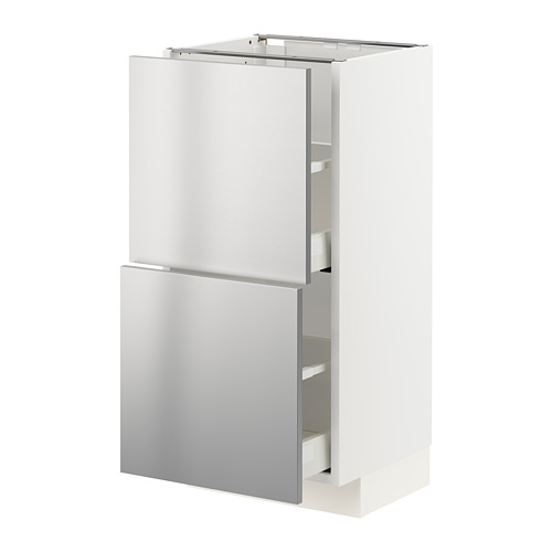 METOD/MAXIMERA - base cabinet with 2 drawers, white/Vårsta stainless steel | IKEA Hong Kong and Macau - PE765791_S4