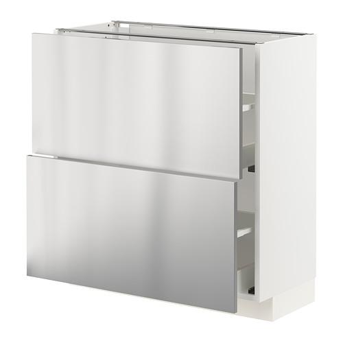 METOD/MAXIMERA - 兩層抽屜地櫃, white/Vårsta stainless steel | IKEA 香港及澳門 - PE765759_S4
