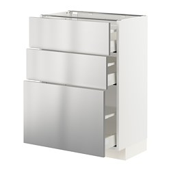 METOD/MAXIMERA - base cabinet with 3 drawers, white/Vårsta stainless steel | IKEA Hong Kong and Macau - PE765788_S3