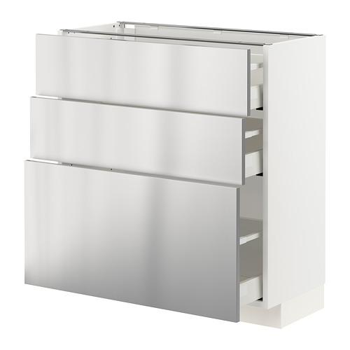 METOD/MAXIMERA - base cabinet with 3 drawers, white/Vårsta stainless steel | IKEA Hong Kong and Macau - PE765761_S4