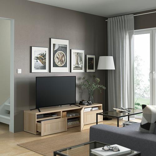 BESTÅ - 電視几連抽屜/門, white stained oak effect/Hanviken white stained oak effect   IKEA 香港及澳門 - PE821410_S4