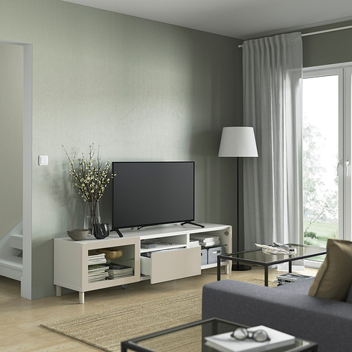 BESTÅ - TV bench, white Sindvik/Lappviken/Mejarp light grey/beige   IKEA 香港及澳門 - PE821475_S4