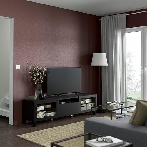 BESTÅ - TV bench, black-brown/Lappviken/Stubbarp black-brown clear glass   IKEA Hong Kong and Macau - PE821480_S4