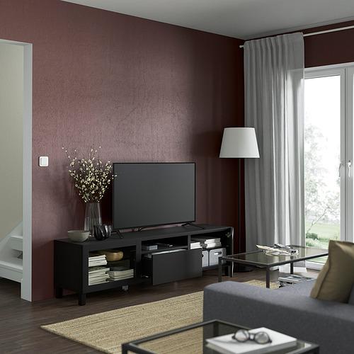 BESTÅ - TV bench, black-brown/Lappviken/Stubbarp black-brown clear glass   IKEA Hong Kong and Macau - PE821532_S4