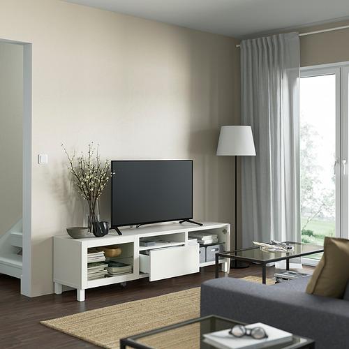 BESTÅ - TV bench, white/Lappviken/Stubbarp white clear glass | IKEA 香港及澳門 - PE821485_S4