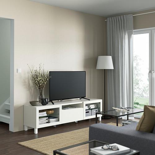 BESTÅ - TV bench, white/Lappviken/Stubbarp white clear glass | IKEA 香港及澳門 - PE821468_S4