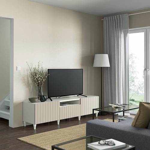 BESTÅ - TV bench, white/Sutterviken/Kabbarp grey-beige | IKEA 香港及澳門 - PE821470_S4