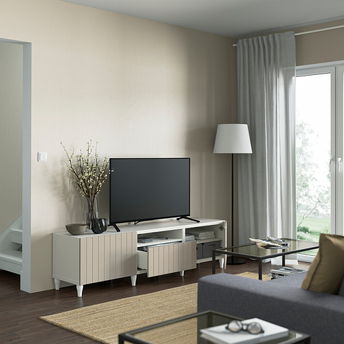 BESTÅ - TV bench, white/Sutterviken/Kabbarp grey-beige | IKEA 香港及澳門 - PE821477_S4
