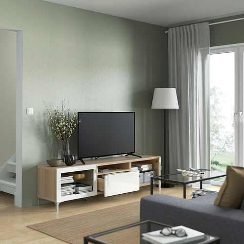 BESTÅ - TV bench, white stained oak effect/Selsviken/Nannarp high-gloss/white clear glass | IKEA 香港及澳門 - PE821472_S4