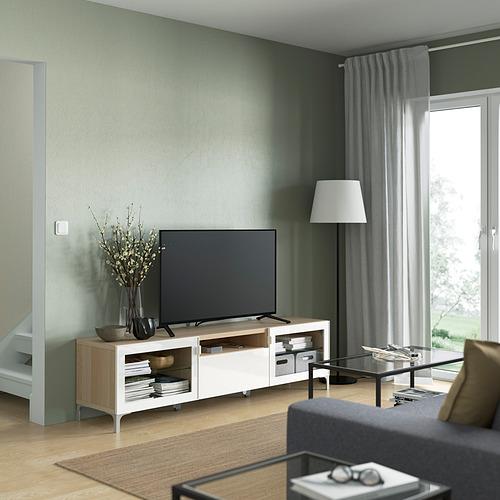 BESTÅ - TV bench, white stained oak effect/Selsviken/Nannarp high-gloss/white clear glass | IKEA 香港及澳門 - PE821478_S4