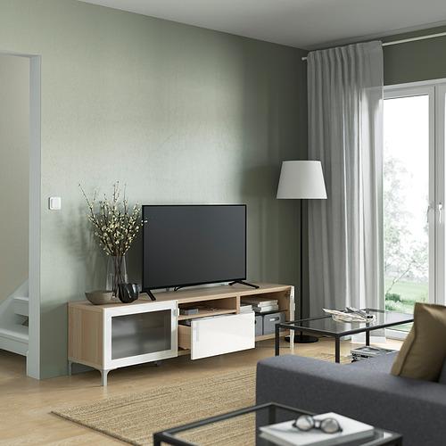 BESTÅ - TV bench, white stained oak effect/Selsviken/Nannarp high-gloss/white frosted glass   IKEA 香港及澳門 - PE821499_S4