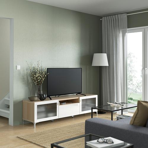 BESTÅ - TV bench, white stained oak effect/Selsviken/Nannarp high-gloss/white frosted glass   IKEA 香港及澳門 - PE821473_S4