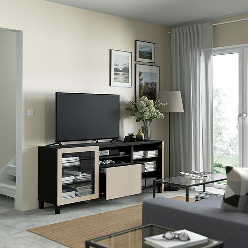BESTÅ - 電視几連抽屜, black-brown Sindvik/Lappviken/Stubbarp light grey/beige   IKEA 香港及澳門 - PE821551_S4