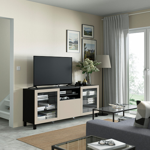 BESTÅ - 電視几連抽屜, black-brown Sindvik/Lappviken/Stubbarp light grey/beige   IKEA 香港及澳門 - PE821552_S4