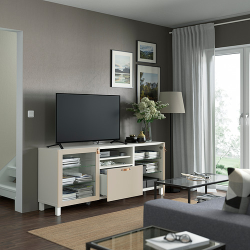 BESTÅ - 電視几連抽屜, white Sindvik/Lappviken/Stubbarp light grey/beige   IKEA 香港及澳門 - PE821562_S4