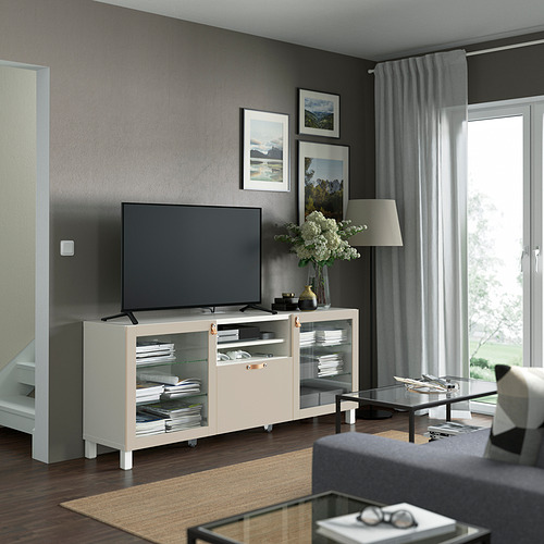 BESTÅ - 電視几連抽屜, white Sindvik/Lappviken/Stubbarp light grey/beige   IKEA 香港及澳門 - PE821545_S4