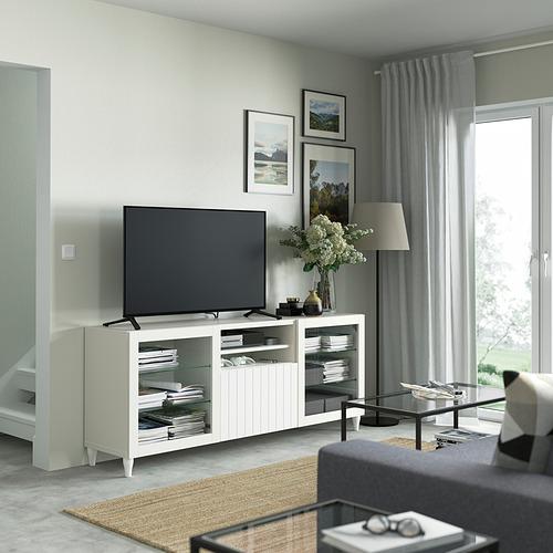 BESTÅ - 電視几連抽屜, white/Sutterviken/Kabbarp white clear glass | IKEA 香港及澳門 - PE821548_S4