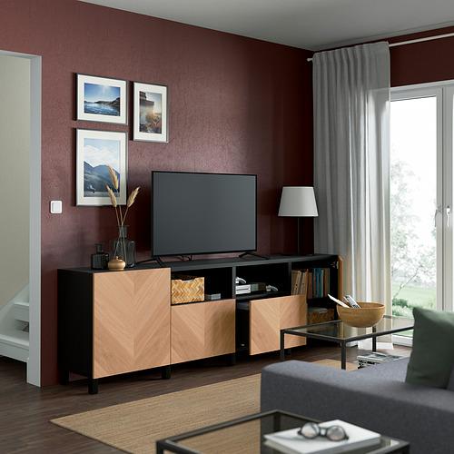BESTÅ - 電視几連抽屜/門, black-brown/Hedeviken/Stubbarp oak veneer   IKEA 香港及澳門 - PE821633_S4