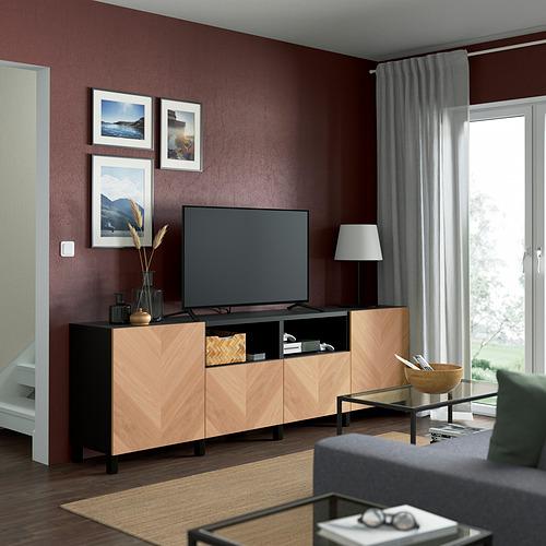 BESTÅ - 電視几連抽屜/門, black-brown/Hedeviken/Stubbarp oak veneer   IKEA 香港及澳門 - PE821652_S4