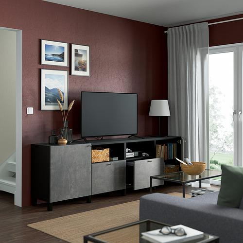 BESTÅ - TV bench with doors and drawers, black-brown/Kallviken/Stubbarp dark grey | IKEA Hong Kong and Macau - PE821655_S4