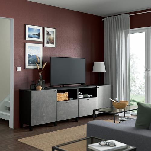 BESTÅ - TV bench with doors and drawers, black-brown/Kallviken/Stubbarp dark grey | IKEA Hong Kong and Macau - PE821653_S4