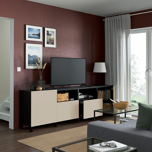 BESTÅ - TV bench with doors and drawers, black-brown/Lappviken/Stubbarp light grey/beige | IKEA Hong Kong and Macau - PE821663_S4