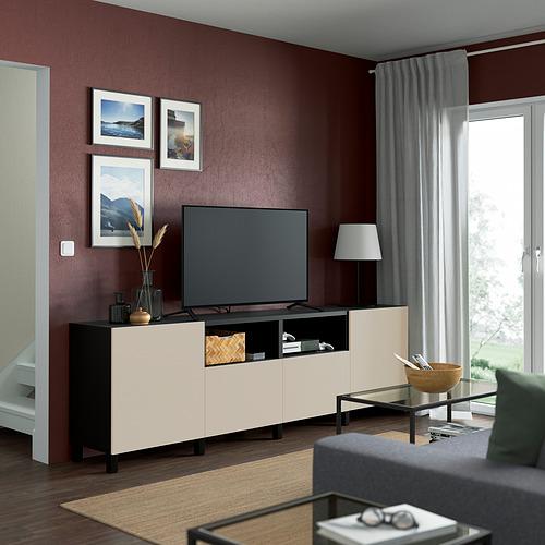 BESTÅ - TV bench with doors and drawers, black-brown/Lappviken/Stubbarp light grey/beige | IKEA Hong Kong and Macau - PE821678_S4