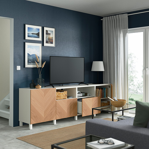 BESTÅ - 電視几連抽屜/門, white/Hedeviken/Stubbarp oak veneer   IKEA 香港及澳門 - PE821667_S4