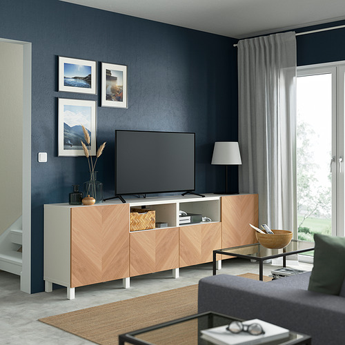 BESTÅ - 電視几連抽屜/門, white/Hedeviken/Stubbarp oak veneer   IKEA 香港及澳門 - PE821661_S4