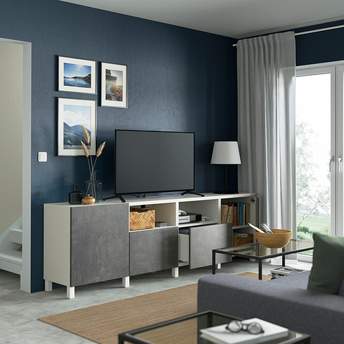 BESTÅ - 電視几連抽屜/門, white/Kallviken/Stubbarp dark grey | IKEA 香港及澳門 - PE821675_S4