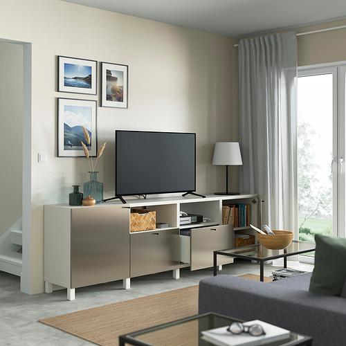 BESTÅ - 電視几連抽屜/門, white/Riksviken/Stubbarp light bronze effect | IKEA 香港及澳門 - PE821634_S4