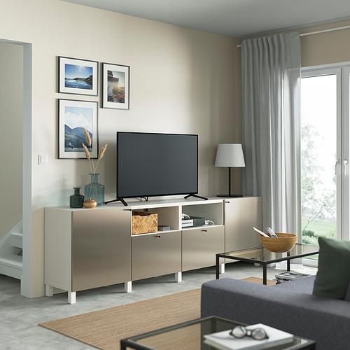 BESTÅ - 電視几連抽屜/門, white/Riksviken/Stubbarp light bronze effect | IKEA 香港及澳門 - PE821642_S4