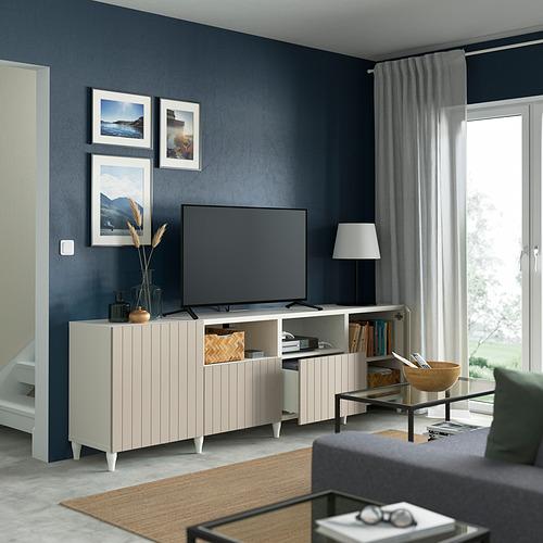 BESTÅ - 電視几連抽屜/門, white/Sutterviken/Kabbarp grey-beige   IKEA 香港及澳門 - PE821635_S4