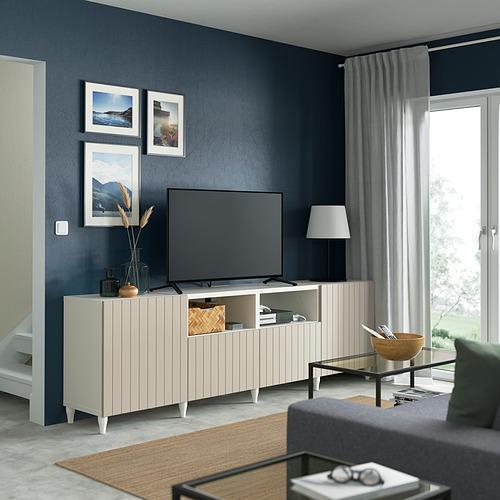 BESTÅ - 電視几連抽屜/門, white/Sutterviken/Kabbarp grey-beige   IKEA 香港及澳門 - PE821641_S4
