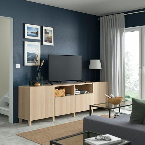 BESTÅ - 電視几連抽屜/門, white stained oak effect/Lappviken/Stubbarp white stained oak effect   IKEA 香港及澳門 - PE821646_S4