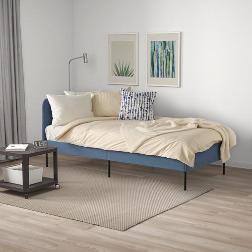 BLÅKULLEN - uph bed frame with corner headboard, Knisa medium blue | IKEA 香港及澳門 - PE821742_S4