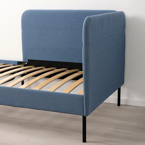 BLÅKULLEN - uph bed frame with corner headboard, Knisa medium blue | IKEA 香港及澳門 - PE821745_S4